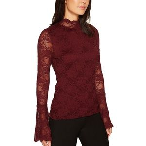 NWT Vince Camuto Maroon Bell Sleeve Lace Top